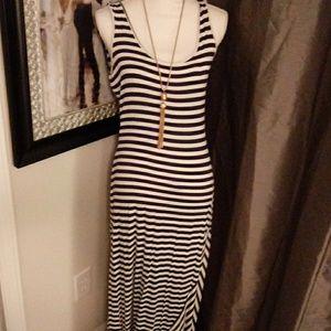 Calvin Klein Navy Striped Maxi Dress